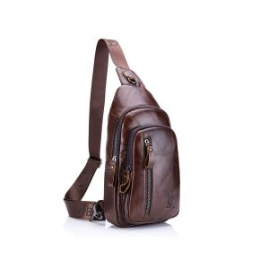 CHARMINER Sling Bag, Leather Chest Bag Crossbody Shoulder Business Backpack