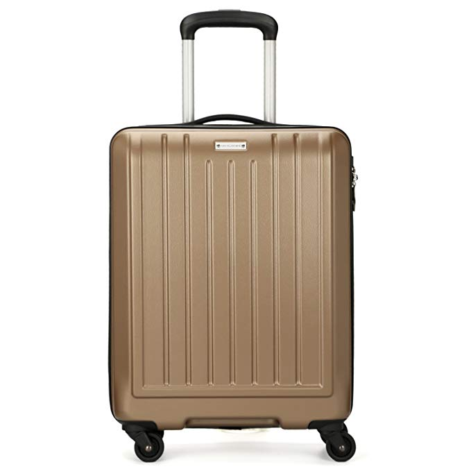 DAVIDJONES TSA Spinner Carry on Luggage Cabin Size Suitcase