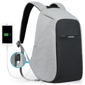 Oscaurt Anti-theft Travel Backpack, Business Laptop School Bookbag with USB Charging Port, Water Resistent Bag for Men & Women Fit 15.6 Inches Laptop Grey - best backpack for high school freshman