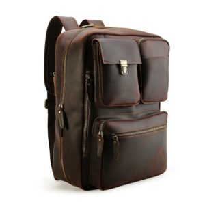 Tiding Vintage 15.6 Inch Men's Crazy Horse Real Leather Convertible Backpack