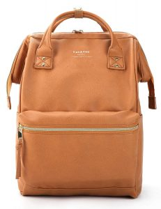 Kah&Kee Leather Backpack Diaper Bag with Laptop Compartment Travel School for Women Man (Camel Beige, Large)