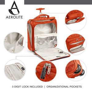 """Aerolite 16.5"""" Underseat Women Luggage Carry On Suitcase - Small Rolling Tote Bag with Wheels"""