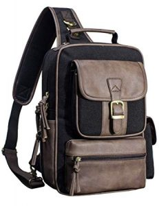 Canvas Messenger Bag for Men Laptop Sling Backpack Cross Body Shoulder Travel Rucksack