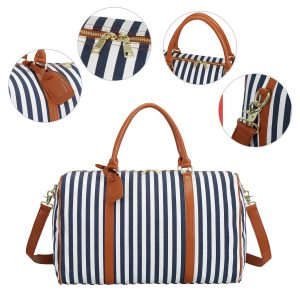 Women Weekender Duffle Bag Travel Tote Canvas Overnight Carry On Luggage with PU Leather Strap (Blue Stripe)
