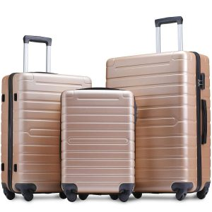 Flieks Luggage Sets 3 Piece Spinner Suitcase Lightweight 20 24 28 inches (Champagne Gold)