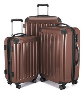 HAUPTSTADTKOFFER Luggages Sets Glossy Suitcase Sets Hardside Spinner Trolley Expandable (20', 24' & 28') TSA (Brown)