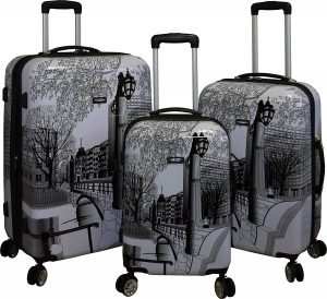 Kemyer 888 Vintage World Series Lightweight 3-PC Expandable Hardside Spinner Luggage Set (Central Park)