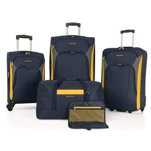 Nautica Open Seas 5 Piece Luggage Set, Navy yellow