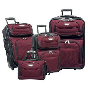 Traveler's Choice Amsterdam 4-Piece Luggage Set, Red/ Black