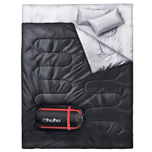Ohuhu Double Sleeping Bag with 2 Pillows, Waterproof Lightweight 2 Person Adults Sleeping Bag for Camping, Backpacking, Hiking, Bonus Carrying Bag,
