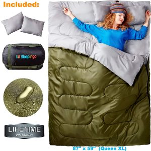 Sleepingo Double Sleeping Bag for Backpacking, Camping, Or Hiking. Queen Size XL! Cold Weather 2 Person Waterproof Sleeping Bag for Adults Or Teens-best zip together sleeping bags or couples