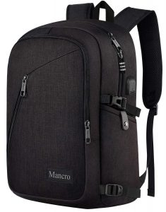 Anti Theft Business Laptop Backpack with USB Charging Port Fits 15.6-inch Laptop, Slim Travel College Bookbag for MacBook Computer, School Computer Bag for Women & Men by Mancro