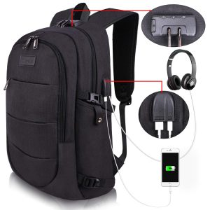 College Laptop Backpack Water Resistant Anti-Theft Bag with USB Charging Port and Lock 14/15.6 Inch Computer Business Backpacks for Women Men School Student