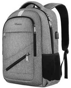 MATEIN NTE Backpack,Travel Laptop Backpack for Women Men,Durable High School Backpacks for Girls and Boys, Waterproof College Student Bookbag USB Charging Port Fit 15.6 Inch Laptop, Gray