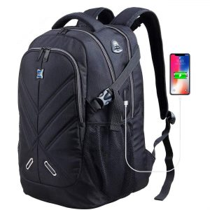 Men Women Waterproof School Backpack Shockproof Computer Backpack Fits 17 Inches Laptops with Rain Cover+USB Charging Port