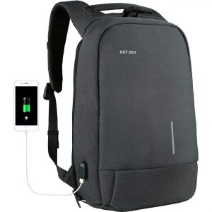 OUTJOY Backpack for Men Anti-Theft Laptop Backpack Computer Backpack for Business Work Travel with USB Charging Port Fits 15.6 Inch Laptop Notebook Tablet