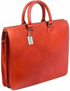 Claire Chase Sarita Womens iPad Briefcase, Computer Bag in Saddle