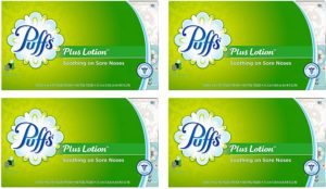 Puffs Plus Lotion Facial Tissues, 4 Family Boxes, 124 Tissuesper Box