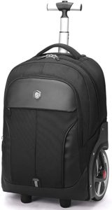 Aoking Rolling Travel Backpack Large Wheeled Rucksack Laptop Trolley Black Carry Luggage