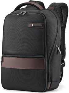 Samsonite Kombi Small Business Backpack with Smart Sleeve, Black/Brown, 16.25 x 10.5 x 5-Inch