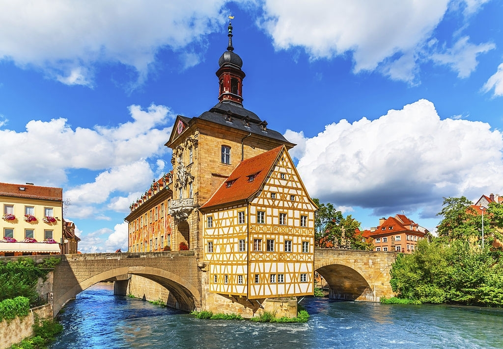 Scenic summer view of the Old Town architecture with City Hall building in Bamberg, Germany. See also:
