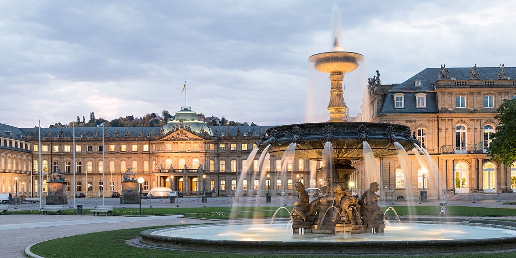 The Schlossplatz City Square in Stuttgart at early morning. HDR Look