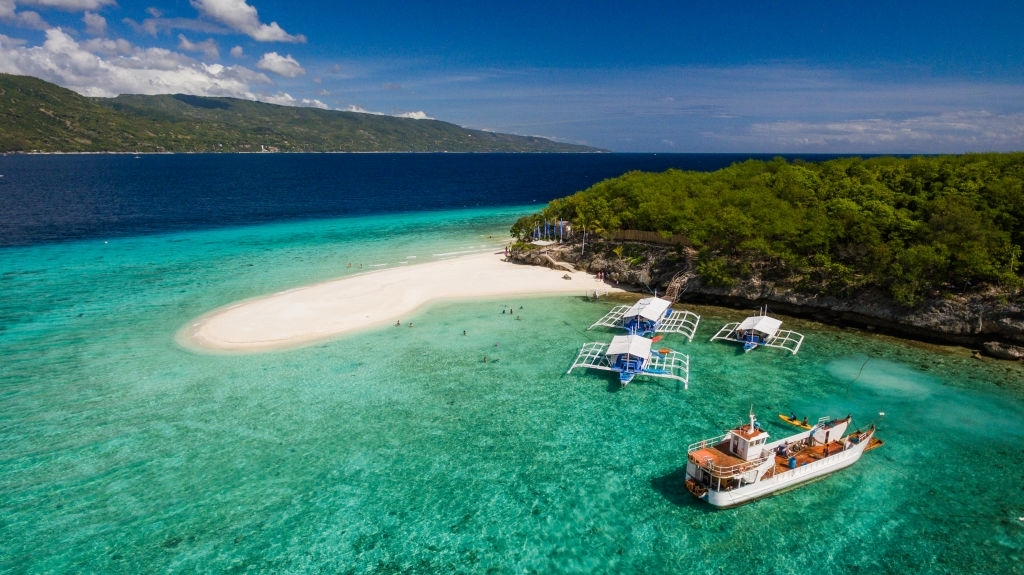 An aerial perspective of the beach landing near Oslob, Cebu, Philippines.