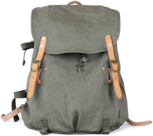 Gootium Canvas Backpack - Vintage Military Rucksack Travel Dayack, Green
